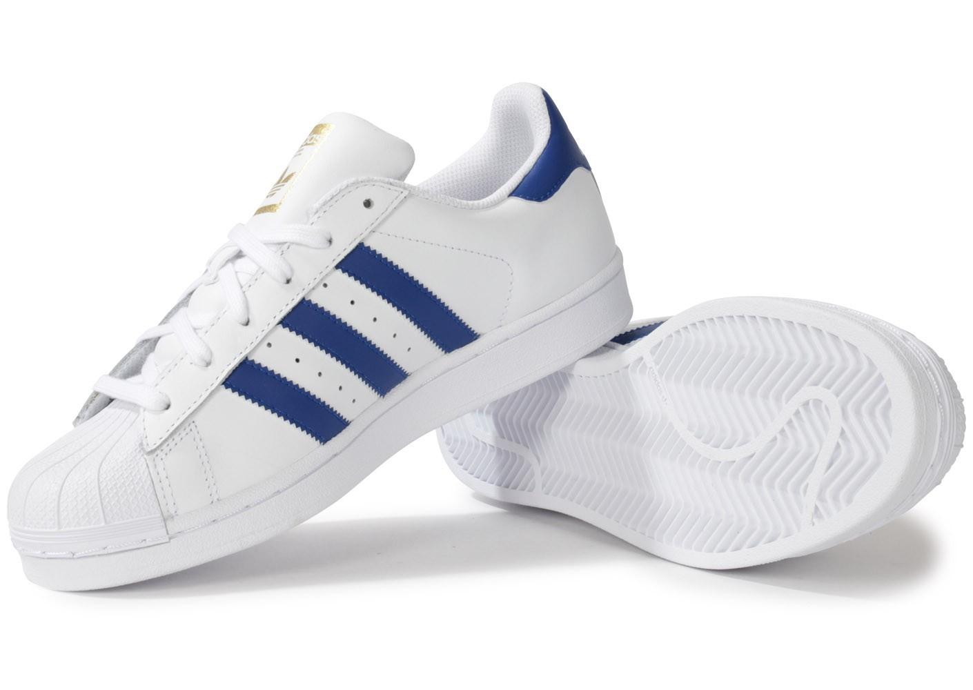 adidas superstar blanc bleu marine